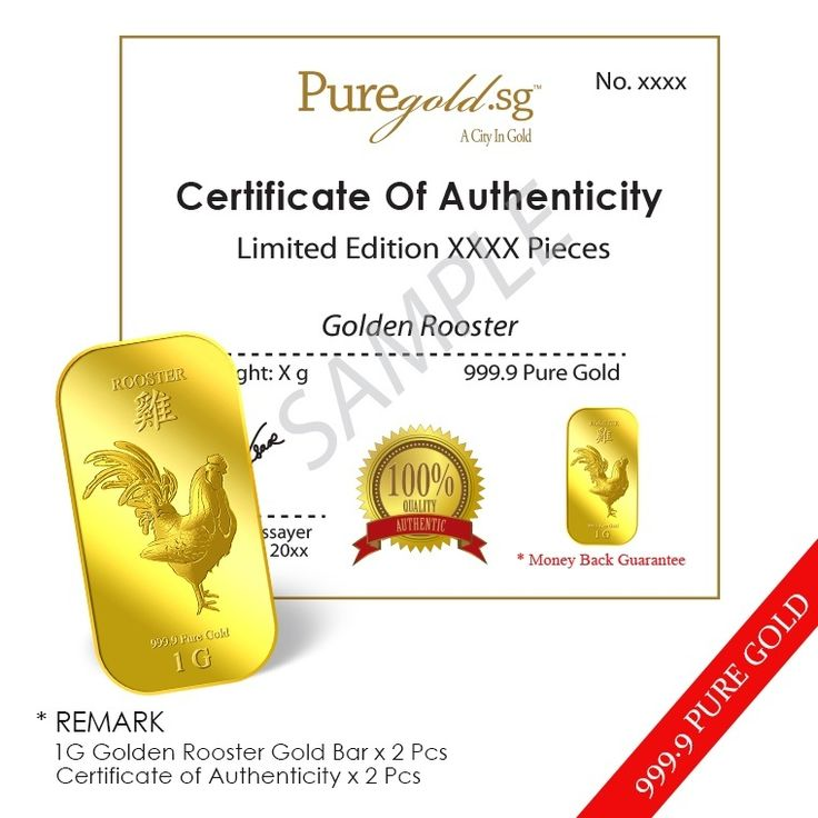 Buy Puregold Singapore Golden Rooster Gold Bar (PAIR) 1g x 2 online at Lazada. Discount prices and promotional sale on all. Free Shipping.