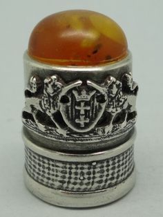 Gdansk. Poland. Silver and amber on the Top. 925. Thimble-Dedal-Fingerhut.