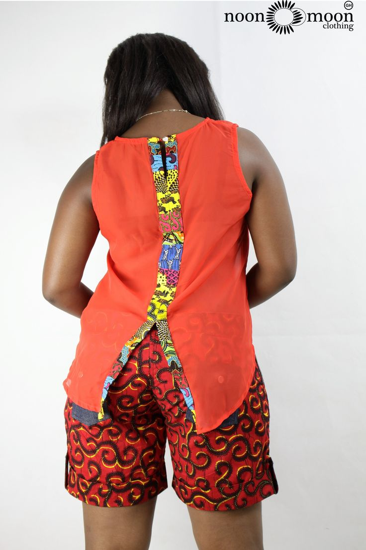 African print shorts with chiffon top mixed with prints.#africa #clothing #africanprints #style #fashion #womensfashion #fashionforwomen #prints #shorts #color #jeans #trendy #stylish #summer #ghana #africanfashion #urban #chiffon