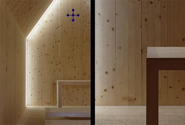 Interior fo the BErgkapelle Andelsbuch by Cukrowicz Nachbaur Architekten.