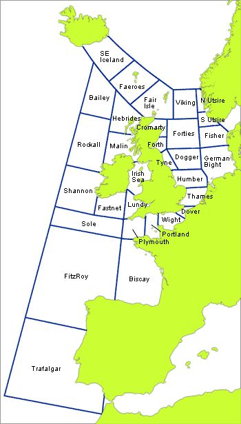 Map showing Shipping forecast areas
