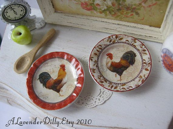 Mount Rooster Plate for Dollhouse by alavenderdilly on Etsy, $3.75