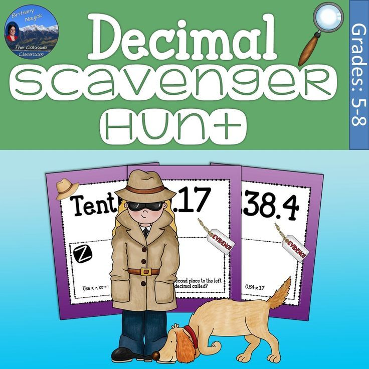 Decimals scavenger hunt with images one step equations