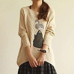 Women's Loose Cute Girl Applique Knit Sweaters - Women's Apparel Deals