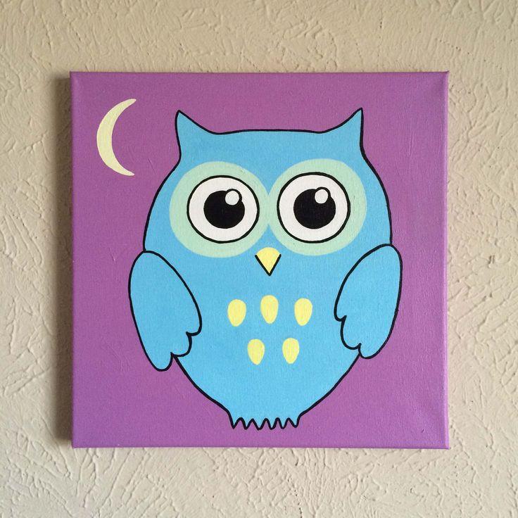 "Original Hand Made Owl Nursery Wall Art, 12"" X 12"" Acrylic"