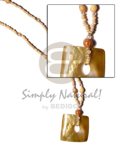 2-3 Coco Pokalet Natural  Square Cut Brown Lip Shell/nassa/acrylic Beads Teens Necklace
