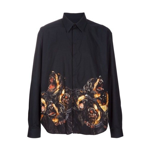 Givenchy 'Raging Dogs' Print Shirt ($860) ❤ liked on Polyvore featuring tops, blouses, shirts, dog print shirt, givenchy shirt, dog shirt, givenchy and shirts & tops