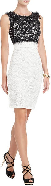 BCBGMAXAZRIA Cerise Lace Applique Cocktail Dress