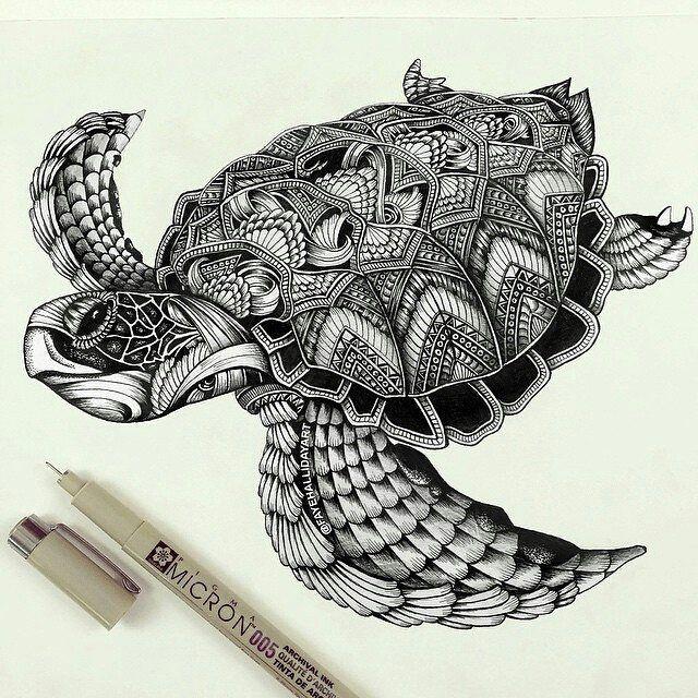 Ornate turtle by @fayehallidayart #love #instagood #photooftheday  _____