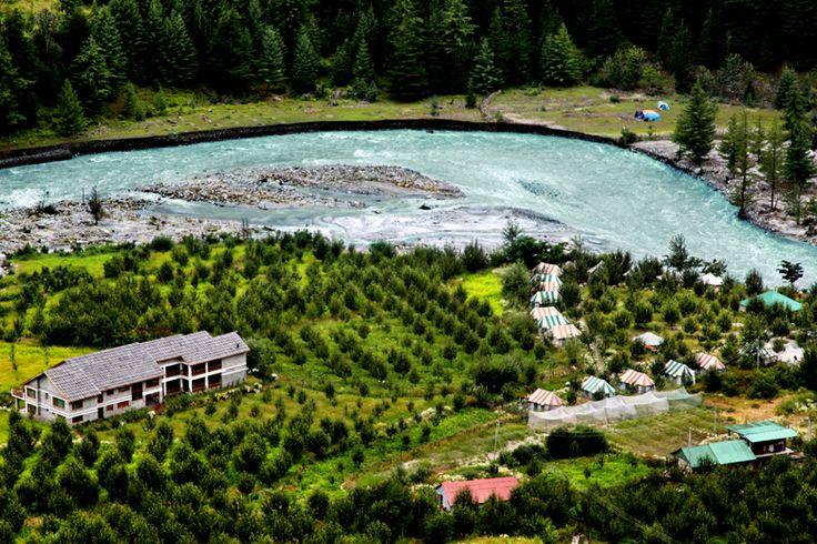 Aerial view of Banjara Camps and Retreat, Himachal Pradesh, India