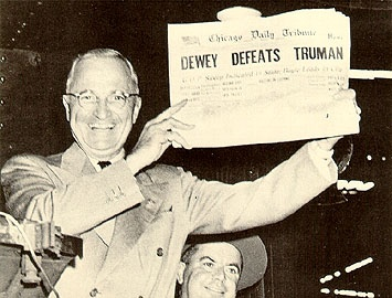 "Harry Truman (holding the newspaper) won the presidential election in 1948, but the Chicago Daily Tribune ran the headline ""Dewey Beats Truman."" One of the most famous newspaper errors and headlines of all time led to one of the most famous photos of all time."