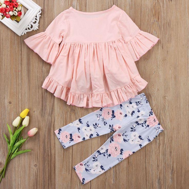 2pcs <b>Toddler</b> Kids <b>Baby Girl Clothes Outfits</b> Ruffle Sleeve Cotton <b>T</b> ...