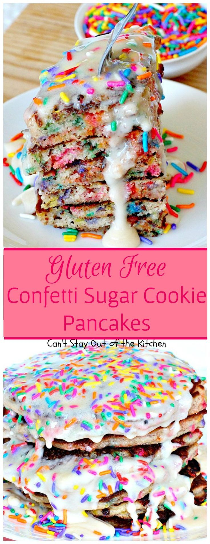 Gluten Free Confetti Sugar Cookie Pancakes | Can't Stay Out of the Kitchen…