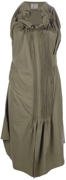 Malloni Pleated Dress in Green (khaki) - Lyst