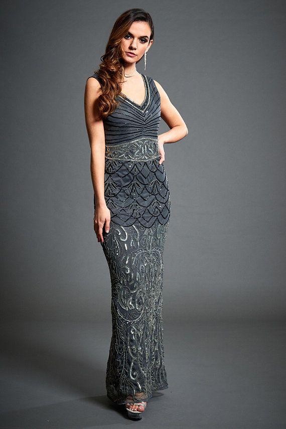 Eva Grey Black Tie Dress, 1920s Great Gatsby Inspired, Downton Abbey ...