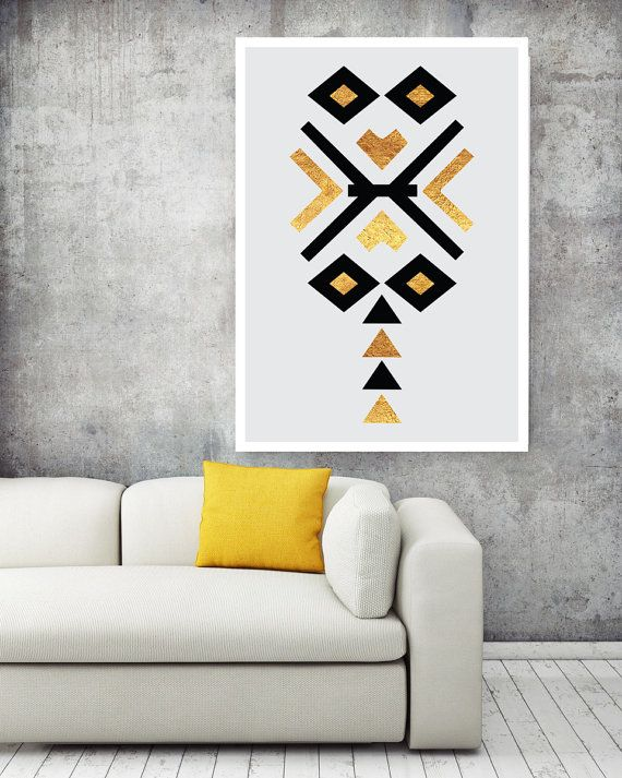 Tribal Pattern Art Abstract Black and Gold   by NordicPrintStudio