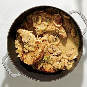 Creamy Pork Chops and Mushrooms | MyRecipes.com
