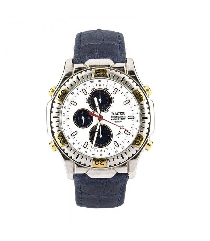 Reloj Racer multifunción para caballero acero y piel gris W50043 - Subastas Regent's | Joyas y Antigüedades