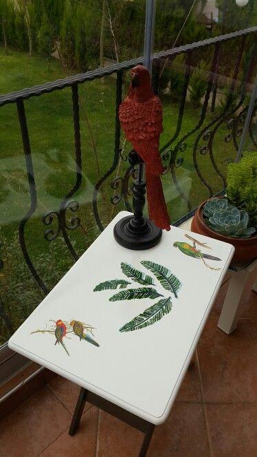 Ahşap boyama sehpa  Wood painting coffee table