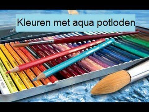 Stempel inkleuren met aquarel potloden
