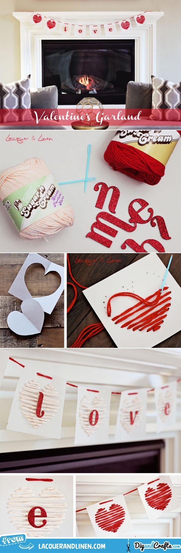DIY: Yarn Heart Garland   Valentines Day Ideas   #DIY & #Crafts
