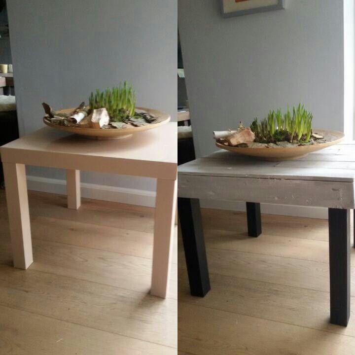 Een lacktafeltje van IKEA omgetoverd naar een stoer tafeltje met een industriële look. Gewoon met een restje sloophout en een nieuw kleurtje.