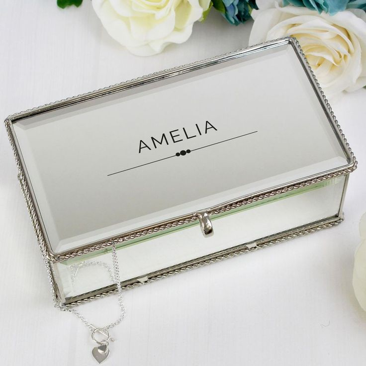 This Personalised Classic Mirrored Jewellery Box has beaded edge detail. Inside there are 3 compartments to store your jewellery.