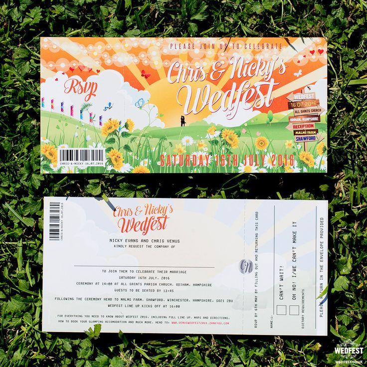 festival ticket wedding invite http://www.wedfest.co/chris-nickys-glastonbury-inspired-festival-wedding/