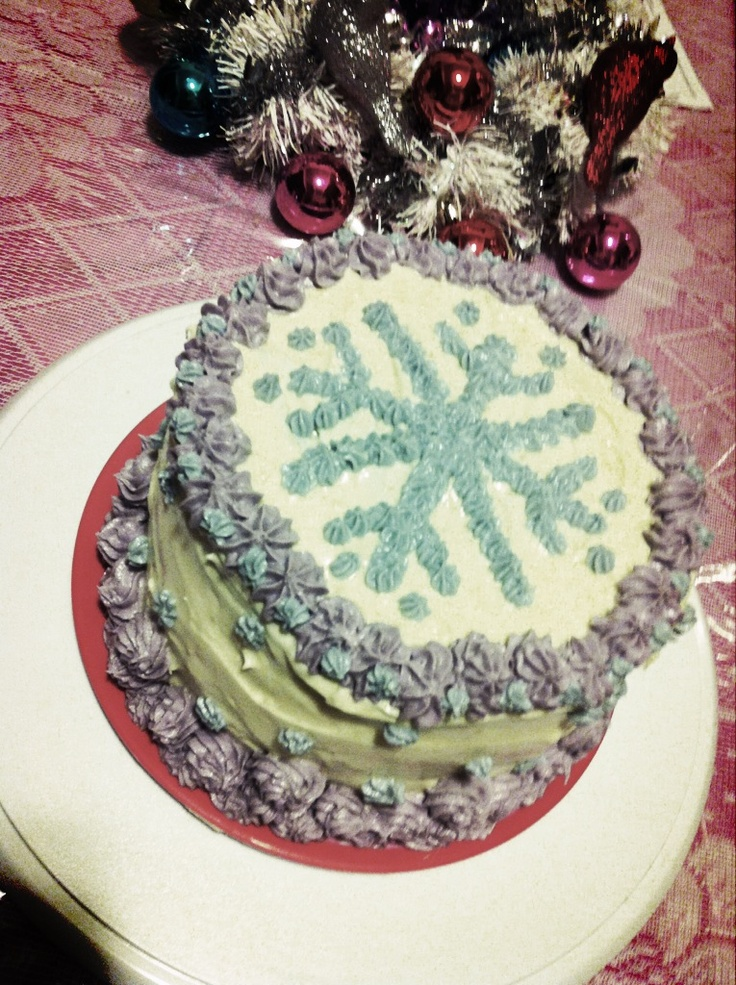 I made this Christmas snowflake cake ...spice cake with cream cheese frosting.