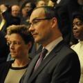 Stammapostel Jean-Luc Schneider und seine Frau in der Laeiszhalle beim Konzert zum 150- jährigen Jubiläum der Neuapostolischen Kirche Pfingsten 2013 in Hamburg/Deutschland