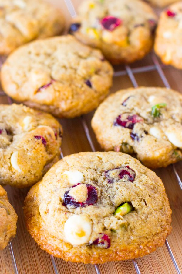 These Flourless White Chocolate Cranberry Pistachio Cookies are soft ...