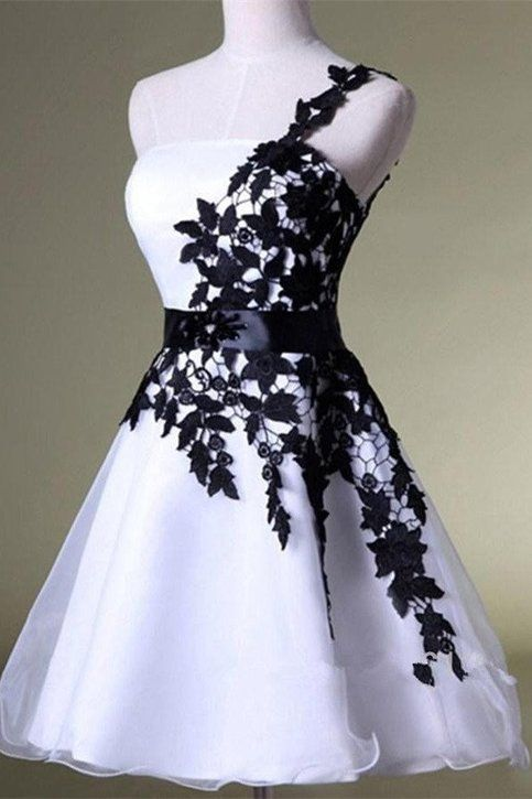 White&Black One Shoulder Homecoming Dress Lace Short Prom Dress Puffy Skirt Party Dress,HC1793 from DidoPromCouture