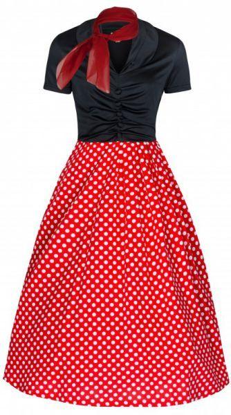 POSHme - LindyBop Elsa šaty, červené s puntíky a šátečkem