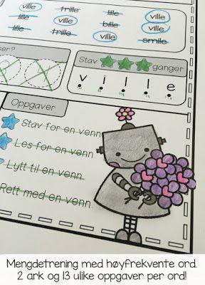 Arbeid med høyfrekvente ord på norsk, både bokmål og nynorsk. Flotte arbeidsark som gir mengdetrening med 13 ulike oppgaver - og noen herlige illustrasjoner! Gratis nedlasting i bloggen!