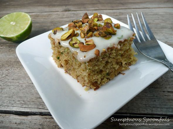 Zucchini Lime Cake with Pistachios ~ I know, I know, zucchini cake? Yes! It makes wonderful sweet treats without being overly sweet and it's a great way to sneak a veggie in too!  ~ ~ http://sumptuousspoonfuls.wordpress.com/2012/08/31/zucchini-lime-cake-with-pistachios/
