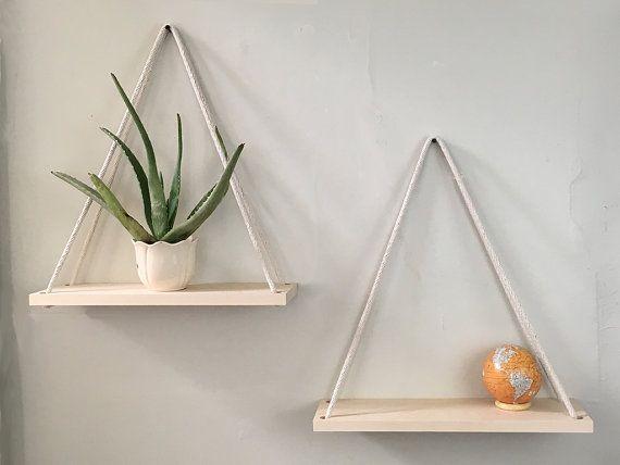 Hanging Shelves  Solid Maple Hanging planter by WoodandSpoolStudio