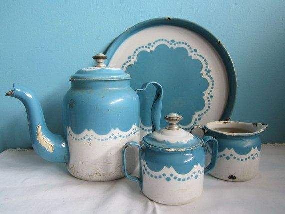 McClary's Bonnie Blue Turquoise White Enamel Coffee by GingerNIrie