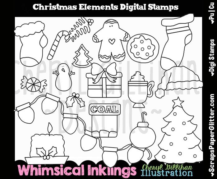 Christmas Elements Digital Stamps, Black and White Image, Commercial Use, Instant Download, Line Art, Stocking, Lights, Tree, Candy Cane by ResellerClipArt on Etsy