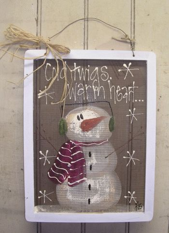 Prim Painted Snowman...on an old screen.