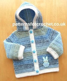 Free PDF baby crochet pattern for hooded jacket http://www.patternsforcrochet.co.uk/hooded-jacket-usa.html #patternsforcrochet