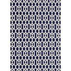 Washable Hexagon Fretwork Navy Blue 5 ft. x 7 ft. Stain Resistant Area Rug