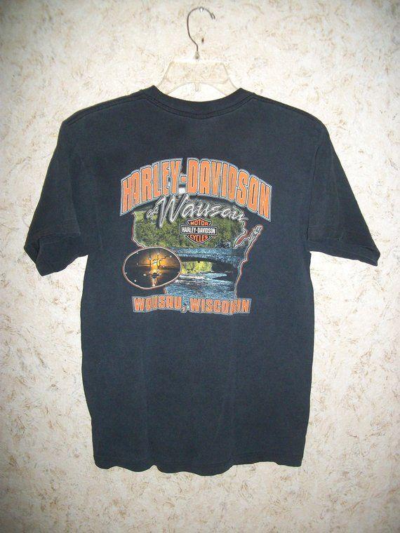 17da61cb 90s Harley Davidson Motorcycles Graphic Tee Wausau WI Black Crewneck T  Shirt Vintage 1990s Biker Grunge Tee Unisex Mens Large