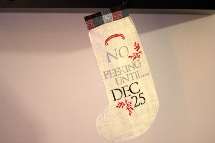 Rustic Burlap Stocking No Peeking by LEOLAJEANNE on Etsy https://www.etsy.com/listing/256002668/rustic-burlap-stocking-no-peeking