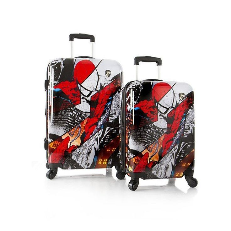 "Heys Marvel Spiderman 2 pc Luggage Set 26"" 21"" Carry On Spinner Suitcases"