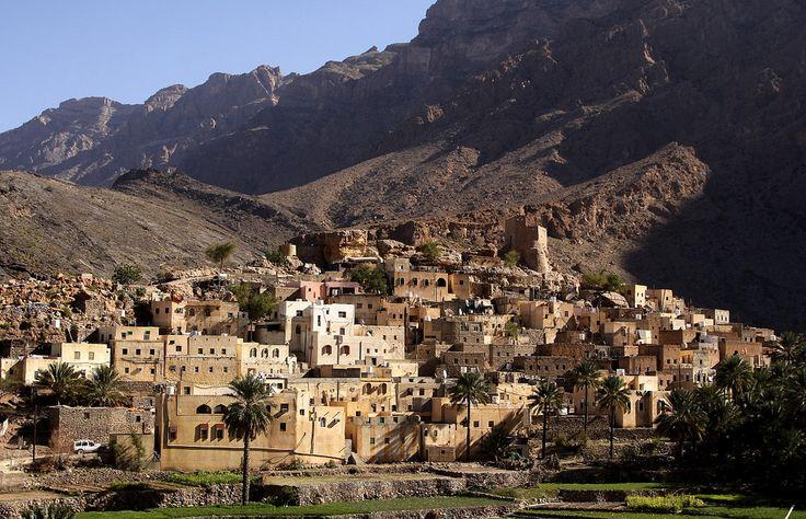 Balad Sayt village, Wadi Bani Awf, Oman. Wadi Bani Awf is a wadi (gorge) in the Ad Dakhiliyah Region of Oman. Photograph by Walter Callens