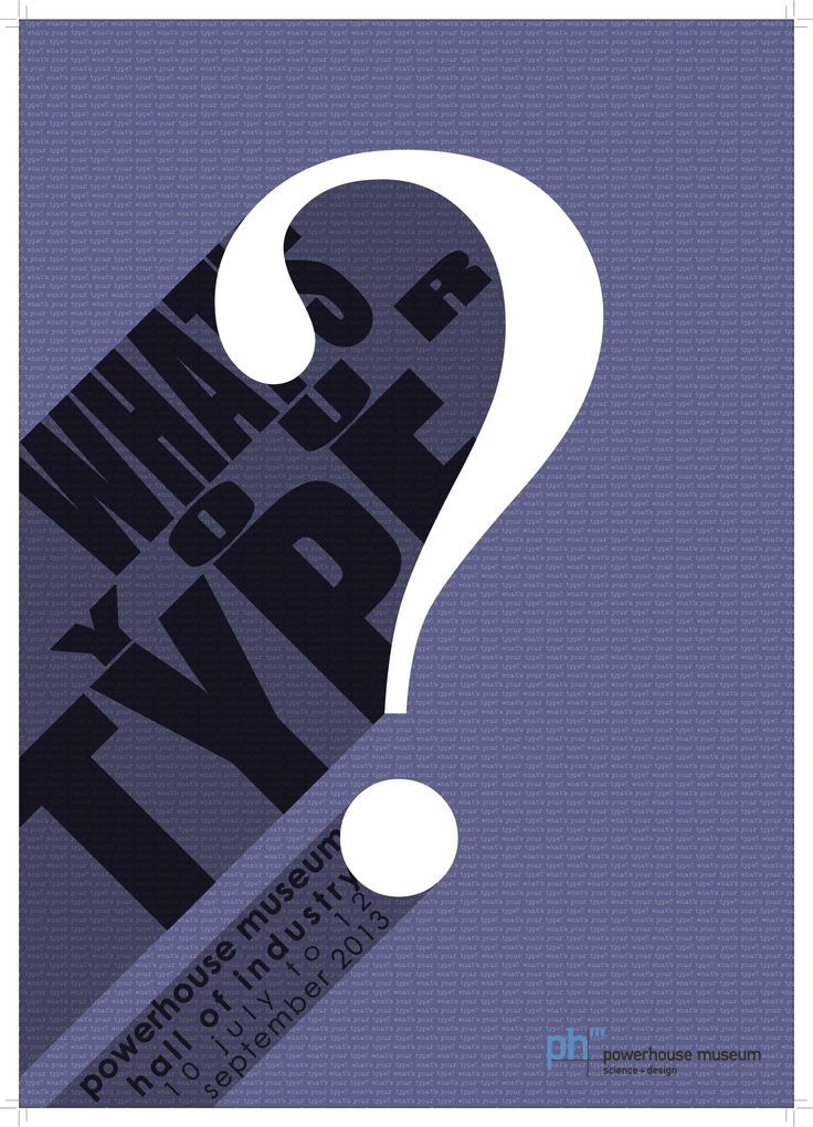 "Typography Assessment 4 - Design a poster using only typeface (no images allowed) ""What's your Type?"" for Powerhouse Museum"