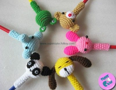 Super Cute Pencil Toppers - So cute... I may have to sit down and see if I can make up a pattern to make some of my own!