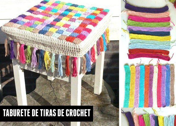 17 best images about crochet tejer y bordar 1 on - Fundas para taburetes ...