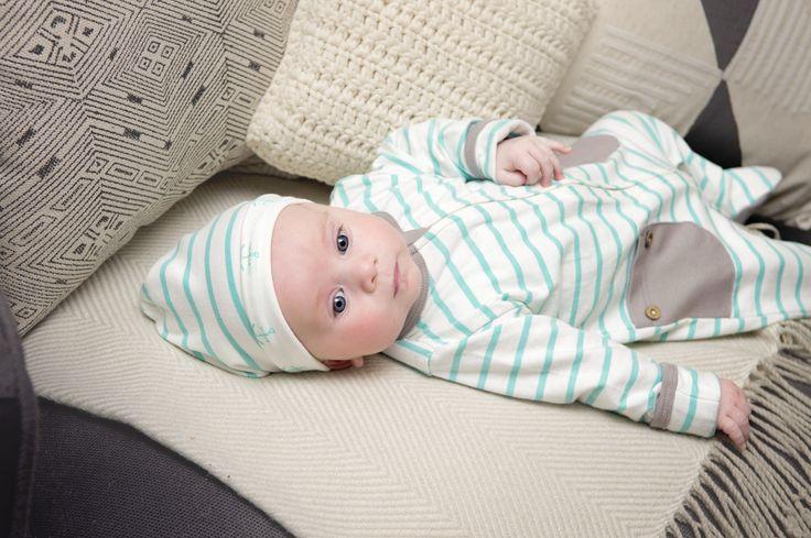 Li'l Zippers: Baby Gift Idea 2way Zip Romper With Fold Over Mittens & Feet Mint/Cream Stripe 95% Cotton 5% Elastane