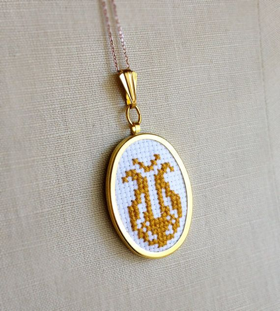 Cross Stitch Yellow Gold Mid Century Folk by TheMarshWrenShop